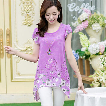 Fashion Women's Purple Floral Pattern Tops Tee Shirt T-shirt Girls Summer Chiffon Top Blouse Plus Size S-XXL Hot