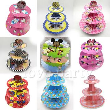 Sofia Princess Cardboard Hello Kitty Cake Holder Baby Shower Birthday Party Minnie/Mickey Cupcake Minions Stand Supplies 1set