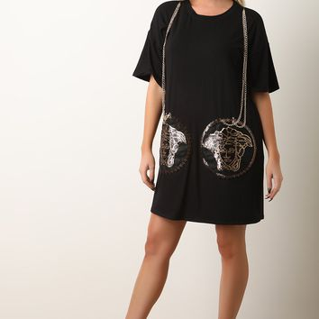 Couture Chain-Link T-Shirt Dress