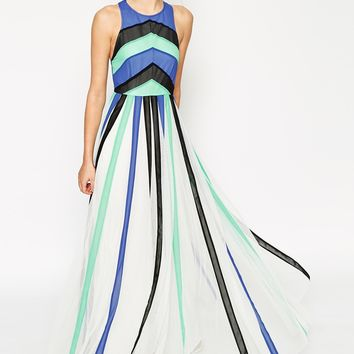ASOS Plain Colour Block Mesh Panel Maxi Dress