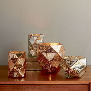 Faceted Mercury Candleholders + Vases