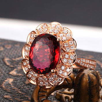 Sunflower Oval Shaped Red Tourmaline Rubellite Diamond Engagement Ring in 18k Rose Gold Wedding Birthday Anniversary Valentine's