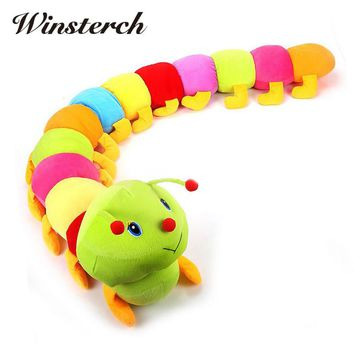 2017 Lovely Colorful Plush Insect Caterpillar Dolls Kids Toys Pillow Baby Birthday Girls Gift Toys Stuffed Doll WW355