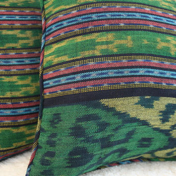 Green Ikat Pillows, 30 Inch Floor Pillows Or 16 Inch Throw Pillows Hand Woven Boho Pillows, Ethnic Cushions