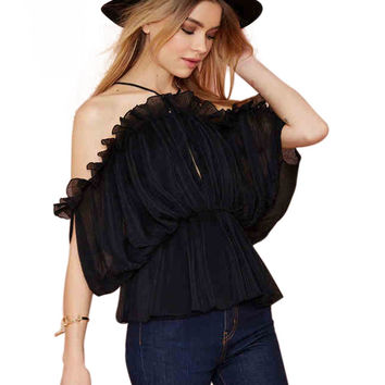 Black Halter Off-shoulder Ruffled Top