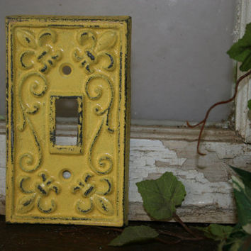 Light Switch Cover / electrical covers / electrical plates / light switch covers /  yellow / fleur de lis / Shabby Chic