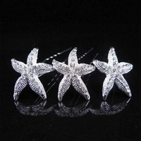 Large Crystal Accented Starfish Silver Plated Hair Pins
