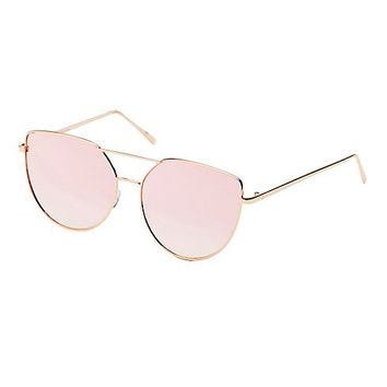Reflective Cat Eye Aviator Sunglasses