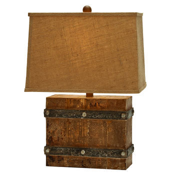 Modern Suave Wooden Table Lamp With Antique Base Finish