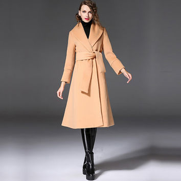 Women's khaki  Wool Coat -  woman coat- Custom wool coat- Big lapel-Lace-up wool coat- camel coat-winter coat-Wool jacket