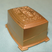 Vintage Gold Celluloid Double Ring Box