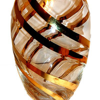 SOLD OUT..Crystal Vase w/Gold Spirals