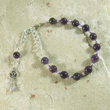 Hekate Prayer Bead Bracelet in Amethyst: Greek Goddess of Magic and Witchcraft