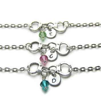 3 Personalized Partners In Crime Swarovski Birthstone Bracelets, 3 Best Friends Bracelets, Initial Bracelets, Partners In Crime, Monogram