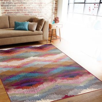 Distressed Modern Geometric Multi-colored Indoor Area Rug (7'10 x 10'2) | Overstock.com Shopping - The Best Deals on 7x9 - 10x14 Rugs