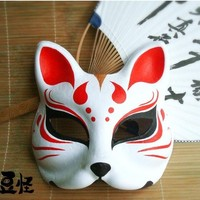 Hand Painted Fox Mask Endulge Japanese Anime Animal Mask Half Face Paper Pulp Halloween Masquerade Cosplay Party Masks Cartoon-in Masks & Eyewear from Novelty & Special Use on Aliexpress.com | Alibaba Group