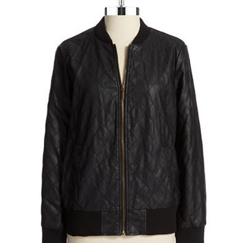 Bernardo Faux Leather Bomber Jacket