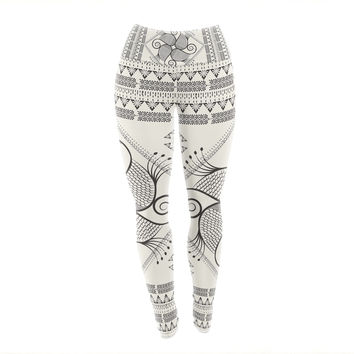"Famenxt ""Paisley Into The Dream"" Beige Pattern Yoga Leggings"
