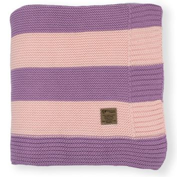 Blush & Lilac Stripe Knit Organic Cotton Blanket