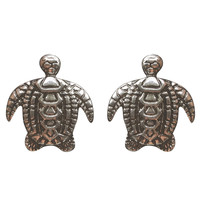 Etched Turtle Button Earrings | Wet Seal