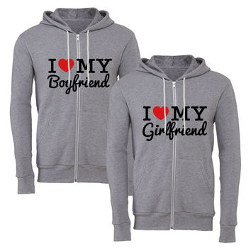 I Love My Boyfriend gf matching couple zipper hoodie