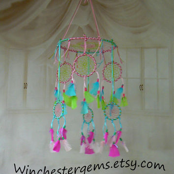 Dream Catcher Mobile , pink , lime ,and turquoise dream catcher