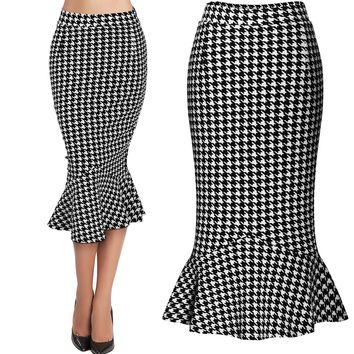 2016 Spring Summer Women's Skirt Houndstooth Trumpet Slim Bodycon Midi Skirt Lady's Skirts S-XXL