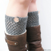 Crochet Mid Length Boot Cuffs in Charcoal Slate Grey with pink rose buttons, wool blend, ready to ship.