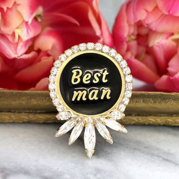 Groom Gift, Best Man Pin, Man for Jewelry, Lapel Pin, Enamel Pin, Gift For Him, Jacket Pin,Word Jewelry,Christmas Gift, Best Man boutonniere