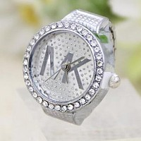 MK Trending Women Men Stylish Letter Diamond Water Drill Ring Watch Silvery I12549-1