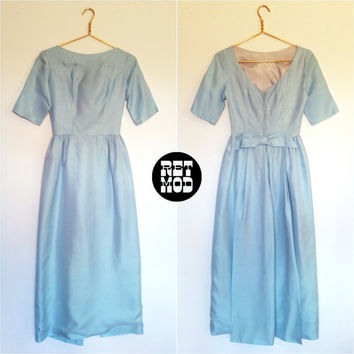 Pretty Pastel Blue Vintage 60s Party Dress Gown with Bow! So Ethereal!