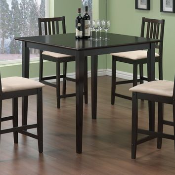5 pc Langdon collection espresso finish wood counter height dining table set with padded seats