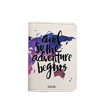 And So The Adventure Begins World Map [Name Customized] Leather Passport Holder - Leather Passport Cover - Travel Accessory- Travel Wallet for Women and Men_SCORPIOshop