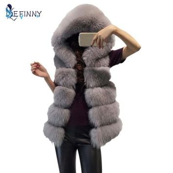 New Winter Thick Warm Fur Vest Hooded Coat Female Faux Fox Fur Vest High imitation Fur Jacket Grey Outerwear