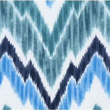 Jagged Chevron in Teal Designer Fabric by the Yard   100% Cotton