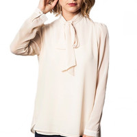 Mademoiselle Bow Collared Blouse - Rich Ivory