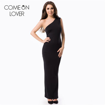 RE70331 Comeonlover Best designed one shoulder black women long dress hot sale plus size dress summer floor-length formal dress
