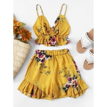 Ruffle Hem Floral Print Cami With Shorts