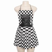 Harajuka Checkerboard Pattern Women Dresses High Street Sexy Backless Punk Sleeveless Chain Straps Dress Summer Fashion