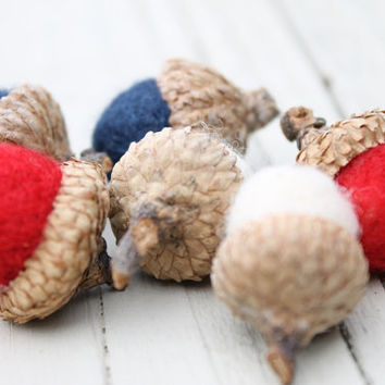 Wool Felted Acorns in Red, White & Blue Americana Home Decor Neutral Eco Friendly