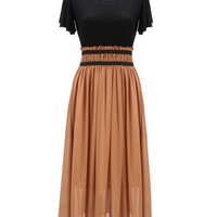 'The Josefina' Black  Ruched-Waist Chiffon Maxi Dress