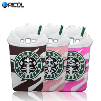 New 3D Ice Cream Starbuck Silicone Case For Samsung Galaxy J3 2016 J320 J320F J320P J3109 J320Y Cup Soft Back Cover