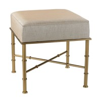 Gold Cane Bench in Cream Metallic Cream Metallic Linen With Gold