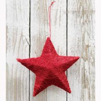 Sisal Star Ornament - Red
