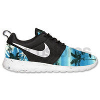 Nike Roshe Run Black White Marble Blue Palm Tree V2 Print Custom