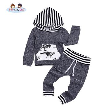 Newborn Baby Boy Girls Grey Dinosaur Print Clothes Sets Long Sleeve Hooded Casual Clothing Outfit Baby Boy Winter Clothing Set