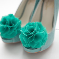 Ruffle Chiffon Flower shoe clips in Teal green by finkshop on Etsy