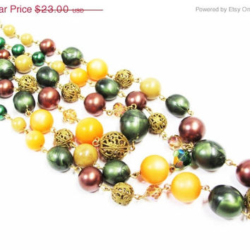 Vintage 3 Strand Necklace | Mixed Media Green Orange Brown Beaded Necklace | AB Crystal Rhinestones Metal Filigree Beads