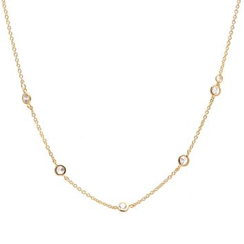 Crystal Accent Chain Satellite Choker Necklace