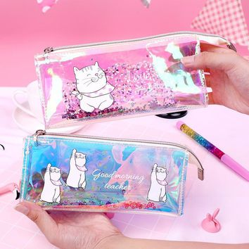 Transparent Cat Pencil Case Cute Unicorn Laser Big capacity Stationery Pouch kawaii Storage pen bag kids gift School Supplies